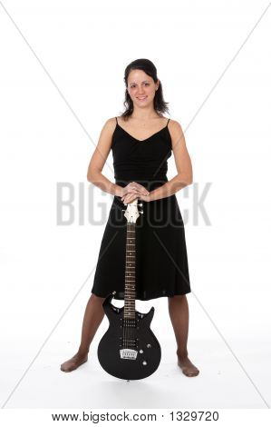 Pretty Woman With Electric Guitar (Ss)