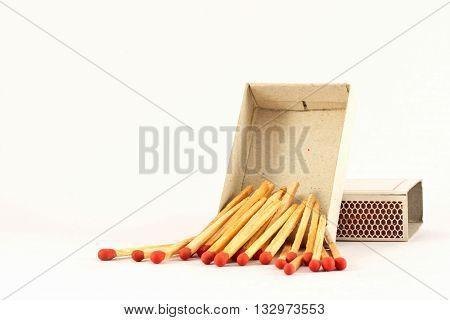 The matches fallen from matchbox, background, matchbox
