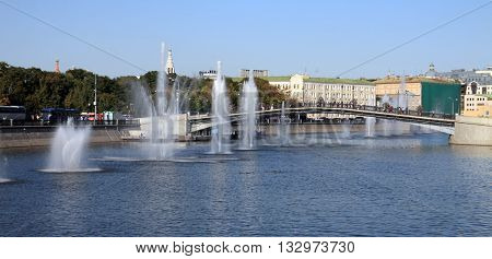 image of one fountain on river at day
