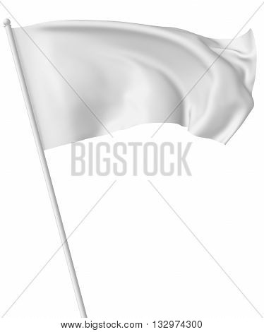White Flag On Flagpole Waving In Wind