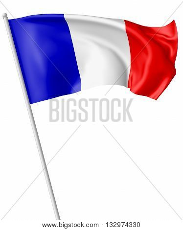 Flag Of France With Flagpole