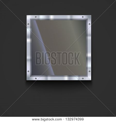 Glass plate with metal frame and bolts. Banner of glass and metal frame with reflexes. Technological background for your design