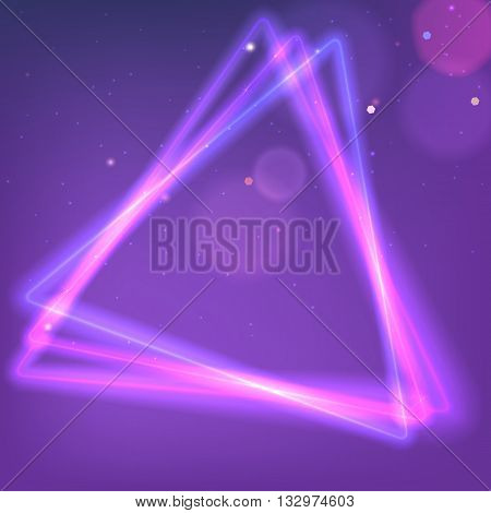 Abstract Neon triangle. Background with luminous swirling sparkle. Glowing triangle.. Shine triangle frame tunnel with light  effect. Cover for your presentation and design with space for your message