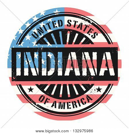 Grunge rubber stamp with the text United States of America, Indiana, vector illustration