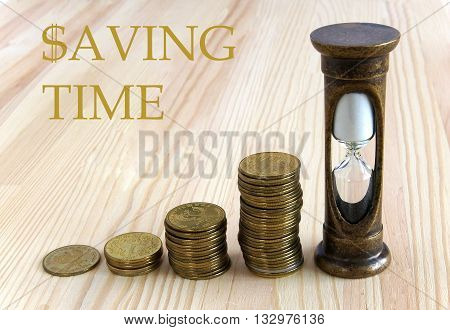 Golden coins and hourglass symbolize Saving Time and time is money concept