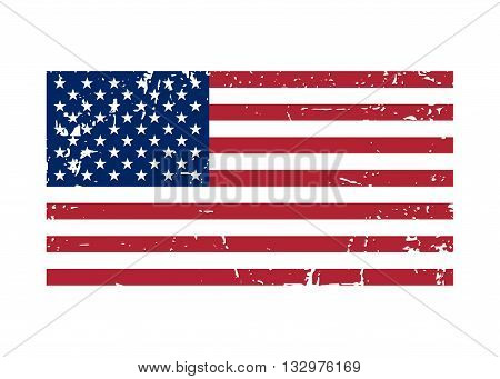 Flag USA sign Grunge. National symbol of freedom independence. Original simple United State Of America flag isolated on white background. Official colors and Proportion Correctly. Vector illustration