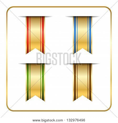 Gold and colored bookmark banners set. Golden vertical book marks labels isolated on white background. Flag symbol sign. Design elements collection. Empty stickers. Template icons Vector illustration