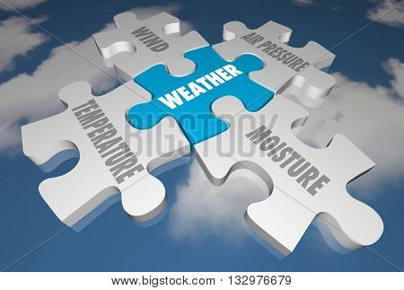 Weather Forecast Elements Words Puzzle Pieces 3d Illustration