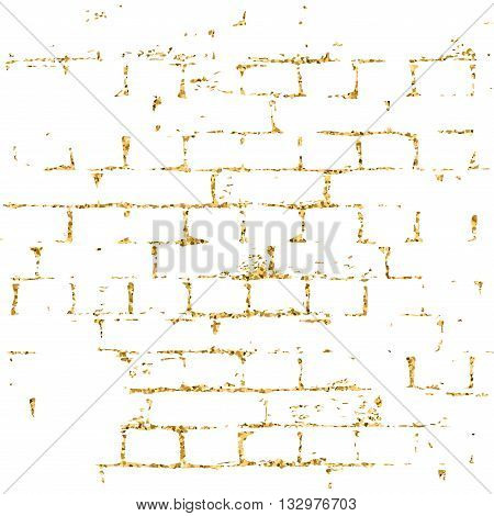 Brick wall gold texture pattern. Golden and white abstract decorative tile background. Grunge retro surface. Old brickwork silhouette. Urban design for wallpaper card decoration. Vector Illustration