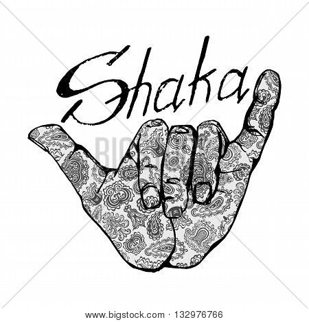 Vector shaka surfers hand in vintage style for flayer, poster, logo or t-shirt print with lettering and shaka. Typography vector Element.