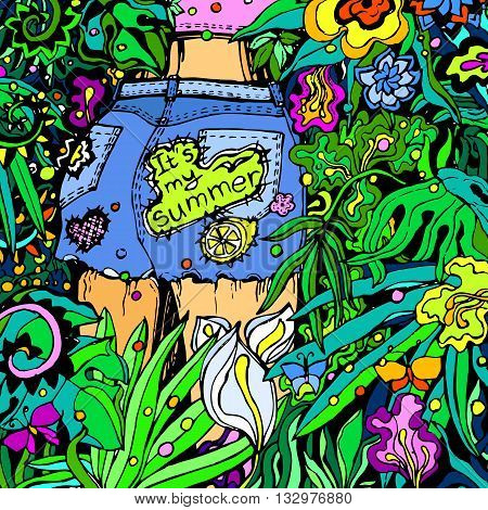 Colorful graphic illustration of young girl in jungle. Coloring antistress.