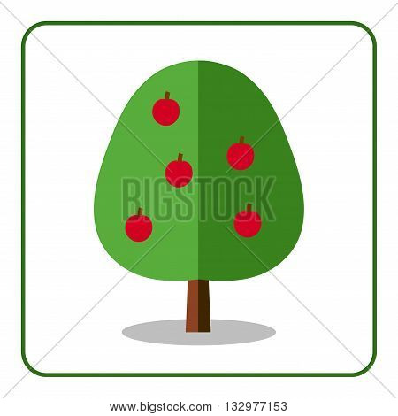 Apple tree icon. Flat sign with fruit. Trendy and beautiful floral element isolated on white background. Green silhouette deciduous tree. Symbol of nature garden. Sprites for game Vector illustration