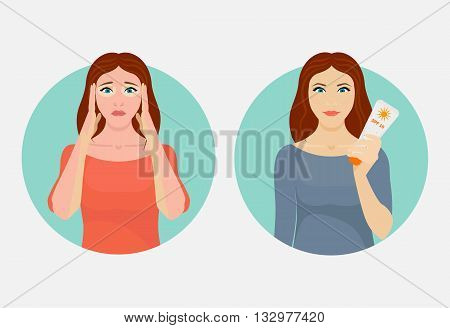 Upset woman with a sunburn versus a happy woman with a sunblock cream. Summer UV skin protection concept. Vector illustration.