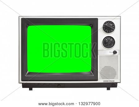 Vintage analog television isolated on white with chroma key green screen
