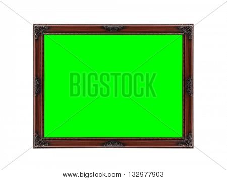 Wood picture frame on white with chrom key green screen.