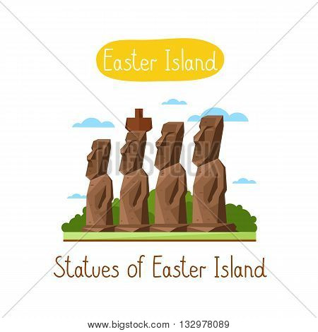 Statues of Easter Island. Famous world landmarks icon concept. Journey around the world. Tourism and vacation theme. Modern design flat vector illustration.