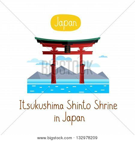 Itsukushima Shinto Shurine in Japan. Famous world landmarks icon concept. Journey around the world. Tourism and vacation theme. Modern design flat vector illustration.