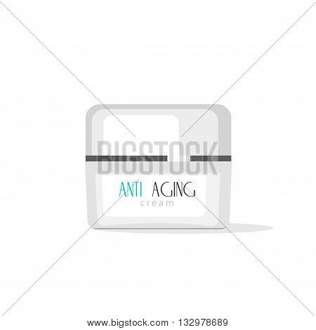 Cosmetic cream tube vector illustration isolated on white bakcground, flat cream bottle icon with anti aging label