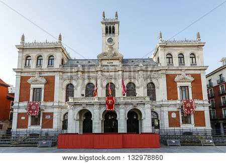 Valladolid Spain - March 23 2016: Town Hall of Valladolid a city in western Spain. It has a great historical and cultural past.