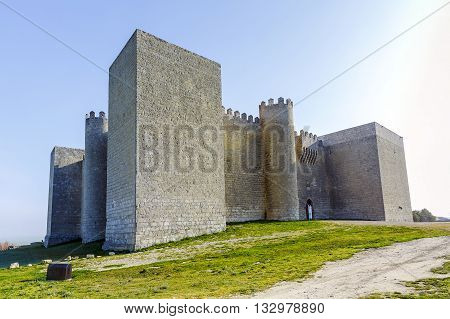 Montealegre de Campos castle is located in Castilla y Leon Spain close to the city of Valladolid. It is a medieval castle still keeping its high defensive walls