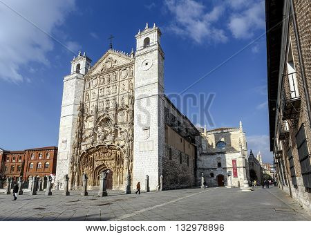 Valladolid Spain - March 23 2016: Facade of the San Pable Church (15th Century) in Valladolid Castile and Leon Spain.