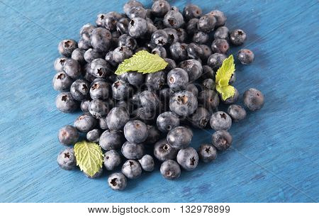 heap of blueberries with mint leaf on blue colored wodden background