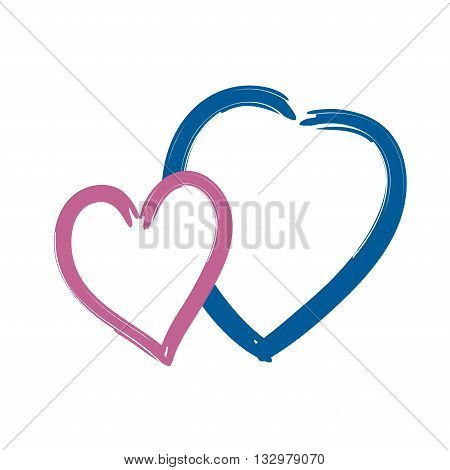 Two hearts icon. Brush texture shape sign isolated on white background. Symbol of romantic love passion. Drawing design element for Valentine day holiday or greeting decoration Vector illustration