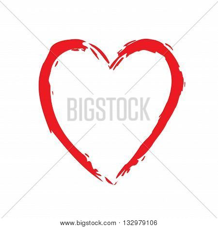 Heart red bright icon. Drawing brush shape sign isolated on white background. Grunge design handmade card. Symbol of love Valentine Day holiday and romantic marriage proposal. Vector illustration