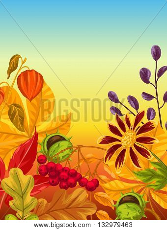Background with autumn leaves and plants. Design for advertising booklets, banners, flayers, cards.