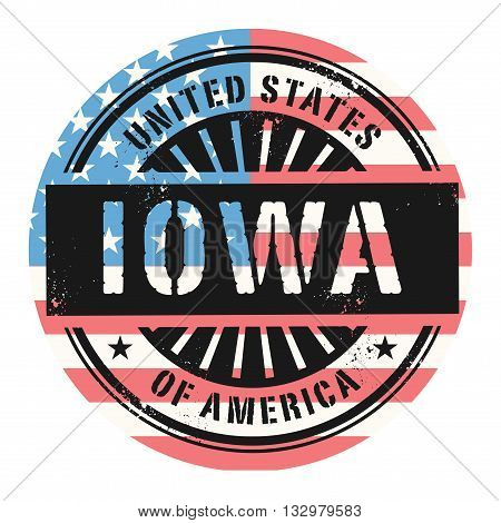 Grunge rubber stamp with the text United States of America, Iowa, vector illustration