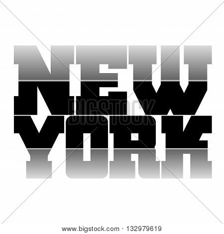 T shirt typography graphics New York. Athletic style NYC. Fashion stylish print for sports wear. Black and white emblem. Template for apparel card label poster. Symbol big city. Vector illustration