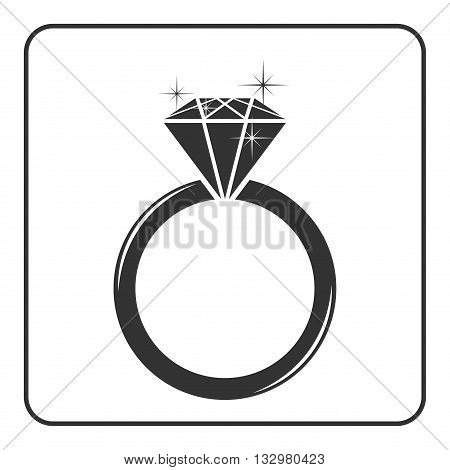 Diamond engagement ring icon. Shiny sparkle crystal sign. Black circle silhouette isolated on white background Flat fashion design element. Symbol engagement gift jewel expensive Vector Illustration