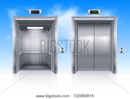 Open and Closed Modern Metal Elevator Doors in Sky