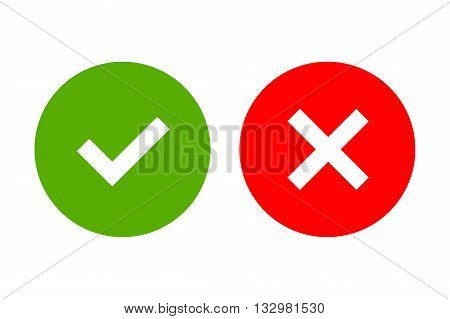 Tick and cross signs. Green checkmark OK and red X icons isolated on white background. Simple marks graphic design. Circle shape symbols YES and NO button for vote decision web. Vector illustration