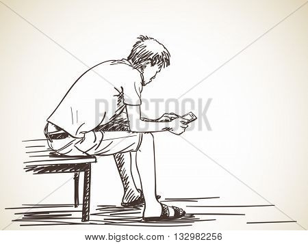 Sketch of man using smart phone sitting on bench, Hand drawn vector illustration