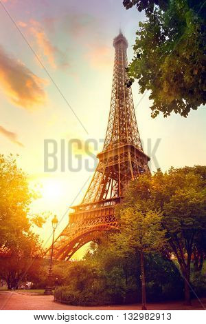 Paris. Eiffel Tower at sunrise, Paris, France. Beautiful Romantic background