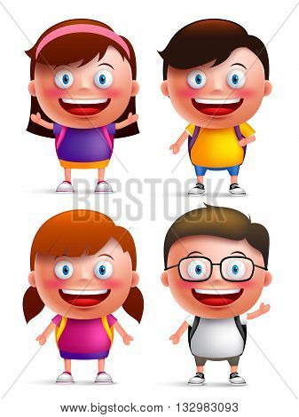 Kids students vector characters set with happy faces and hand gestures wearing backpacks for back to school isolated in white background. Vector illustration