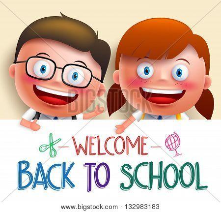 Boy and girl student vector character wearing uniform holding white board with space for text for back to school. Vector illustration