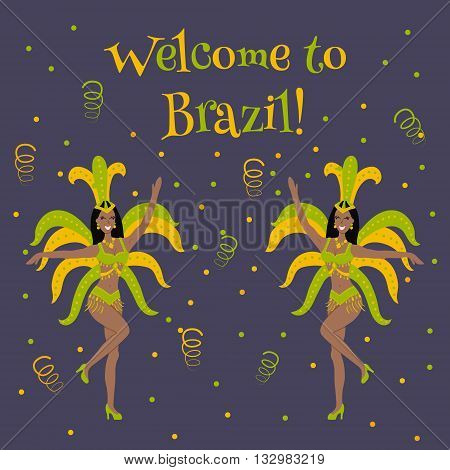 vector illustration of women samba dancers and welcome to Brazil text