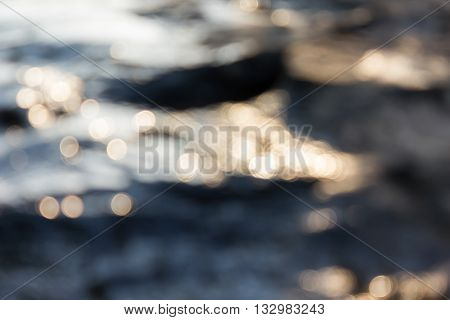 Dreamy Abstract Sparkle Shining Bokeh Light Crystalline Water In River Surface Romantic Background
