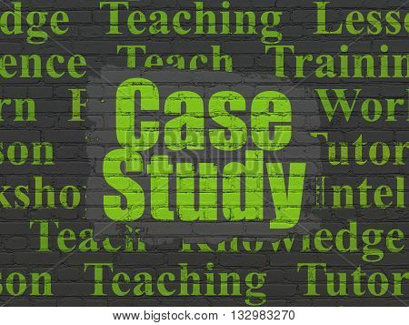 Studying concept: Painted green text Case Study on Black Brick wall background with  Tag Cloud