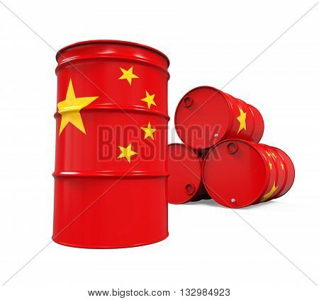 China Flag Oil Barrel isolated on white background. 3D render