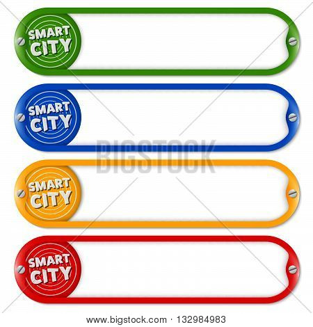 Four buttons for entering text with icon of smart city