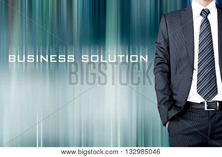 Business Solution Sign On Motion Blur Abstract Background With Standing Businessman