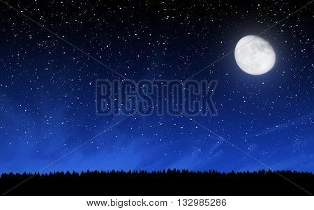 Deep night sky with many stars and moon over forest background