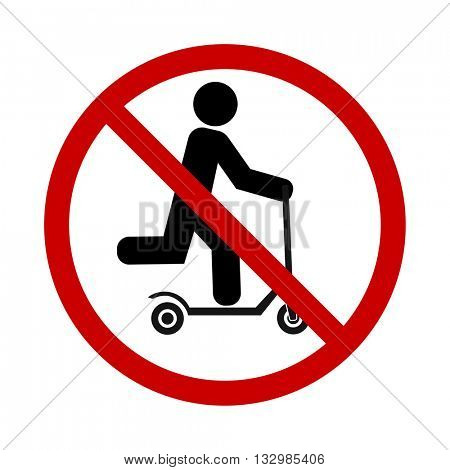 push scooter stop and forbidden sign icon