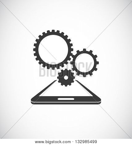 mobile smartphone with cogs gears teamwork icon