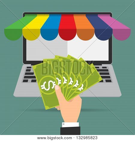 Businessman hand give banknote money for shopping online.Vector illustration Omnichannel online marketing concept.