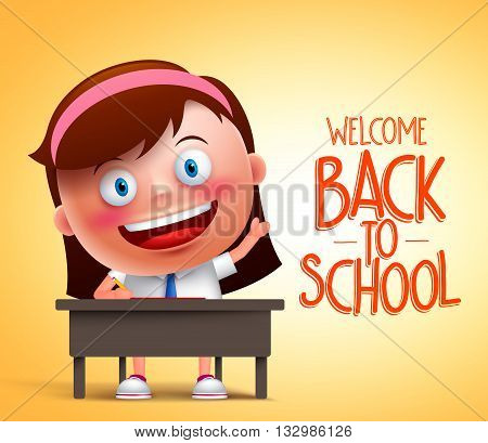 Girl student vector character in realistic 3D sitting in a desk raising hand and writing in yellow background with back to school text. Vector illustration