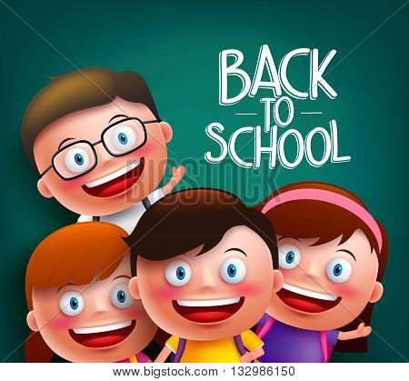 Classmates kids vector characters with smart happy faces for back to school with backpacks in a chalkboard background. Vector illustration